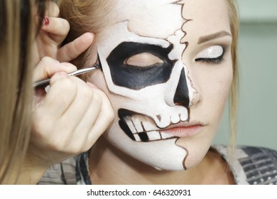 the process of creating makeup for Halloween