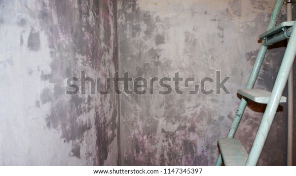 Process of creating the texture of the old wall. Decorative plaster