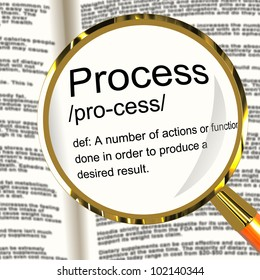 Process Definition Magnified Shows Result From Actions Or Functions To Analyse Methods, Automation And Business Procedures.