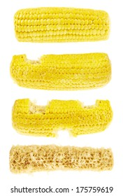 Process of eating corn on the cob cornstick isolated over white background, set of four images