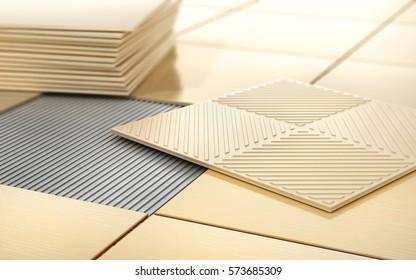 Process of floor coating. Ceramic tile on a tiled floor. 3d illustration