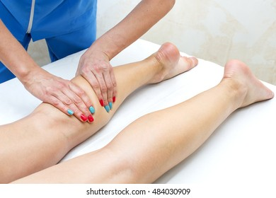 the process of foot massage treatments in the beauty salon - Shutterstock ID 484030909