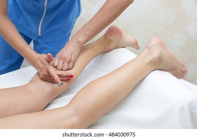 the process of foot massage treatments in the beauty salon - Shutterstock ID 484030975