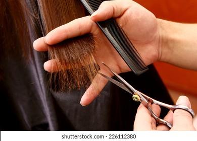 a process of hair cutting with hairdresser hands closeup