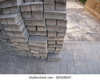 The process of laying paving covering the street with wide angle fisheye lens and distortion view