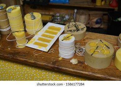 The process of making beeswax candles
