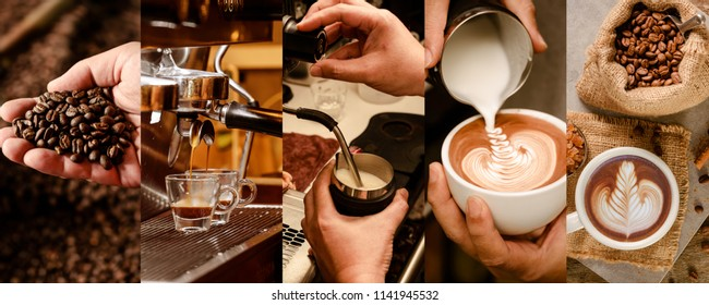 Process of making coffee from roast, make espresso, steam milk, pour latte art, until served as a cup