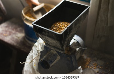 Process of making raw yellow polenta, corn grits in in house mill on rustic vintage background.