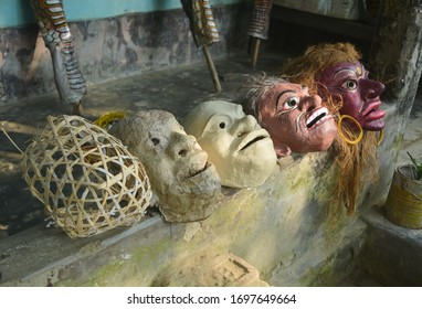 The process of mask making at Majuli, Assam. (Different stages of  Mask)