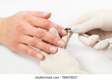 The process of the master's work in the manicure salon of female nails