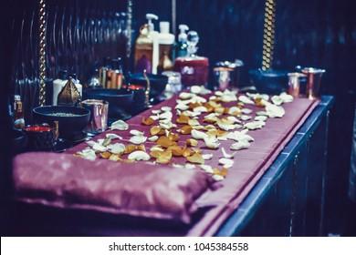 process of Moroccan Bath with flowers, woman, luxury spa, arabic hammam