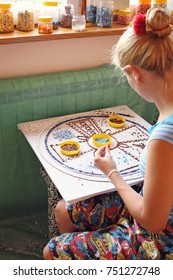 Process Of Mosaic Making, Young Blonde Girl Sitting, Making A Mosaic, Creative Arts Background