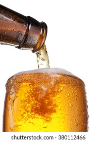 The process of pouring beer into the glass. File contains clipping paths.