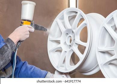 Process of powder painting auto wheels