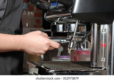 Process of preparation of coffee, a closeup.