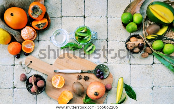 process of preparing a smoothie with tropical fruits, cooking concept ,organic food