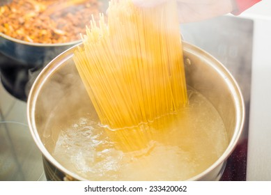 Process of preparing spaghetti Bolognese through the stages. Finished spaghetti Bolognese and ready for serving.