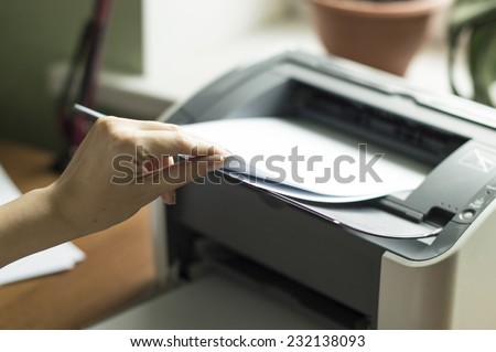 Process of the press of paper in the laser printer