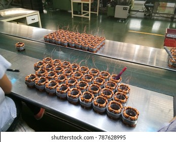 The process of produce stator for electric fan 16 inch, Use the copper coil for winding the iron stator.