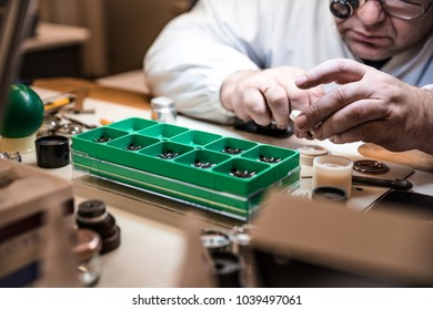 Process of repair of mechanical watches. Watch maker