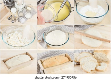 Process of rustic homemade bread baking, collage, step by step