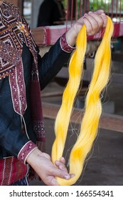 Process of weaving, dyeing textile materials used in making dye nature of ancient Thailand as silk