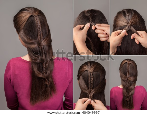Process Weaving Fishtail Braid Hairstyle Tutorial Stock