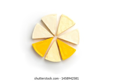 Processed cheese isolated on white background.
