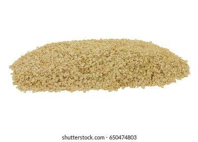 Processed to Flakes Organic Quinoa seeds spilled on pile over white background - isolated