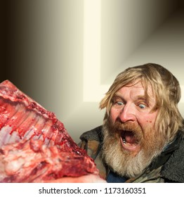 The processed photo is a dark contrast filter. A mad man is eating meat. crazy, madman, mad, lunatic, crazed, demented