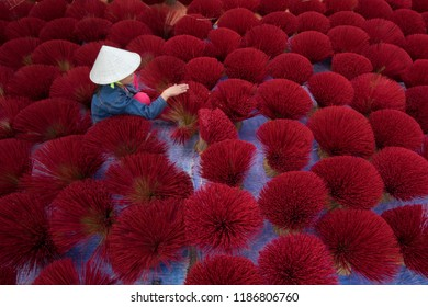 Processing to make incense sticks in traditional village at Binh Chanh, Ho Chi Minh city, Viet Nam