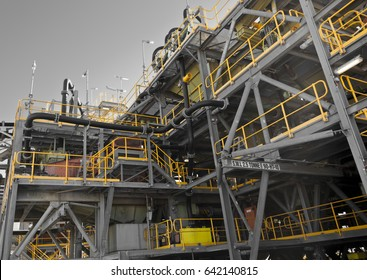Processing Plant at former Galaxy Lithium Mine in Ravensthorpe, Western Australia. Mechanical processing used to refine lithium spodumene concentrate.
