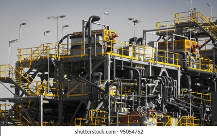Processing Plant at Galaxy Lithium Mine in Ravensthorpe, Western Australia. Mechanical processing used to refine lithium spodumene concentrate.