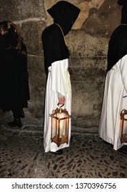 Procession of the Penitent Knights of Christ the Redeemer, which takes place in the middle of the night on Holy Wednesday through the streets of Toledo, Spain.