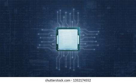 Processor with ligting microelectronics circuits. Binary code in abstract background.