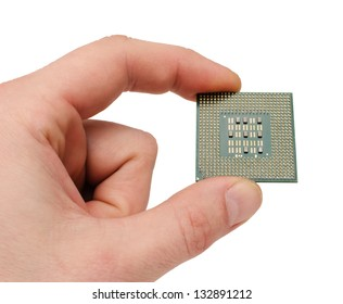 the processor on a hand of the person on a white background