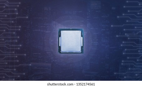 Processor surrounded with microelectronic circuits. Abstract blue background with lights.