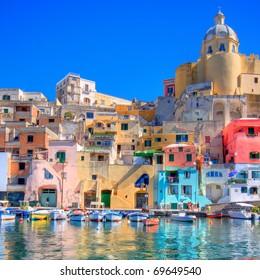 Procida, beautiful island in the mediterranean sea, naples. hdr