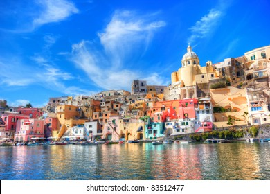 Procida, Beautiful island in the mediterranean sea coast, naples, italy