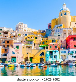 Procida, colorful island in the mediterranean sea coast, Naples, Italy