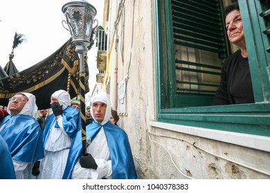 "PROCIDA, ITALY - APRIL 11, 2009 - Procida's Good Friday procession is the most famous Easter's celebration in Campania: ""misteri"" representing scenes from The Bible are carried through the streets"