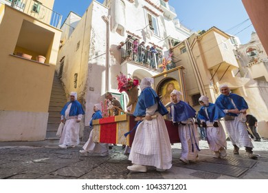 """PROCIDA, ITALY - MARCH 25, 2016 - Every year the procession of the """"Misteri"""" is celebrated at Easter's Good Friday in Procida, Italy. Islanders carry through the streets elaborate and heavy Misteries"""