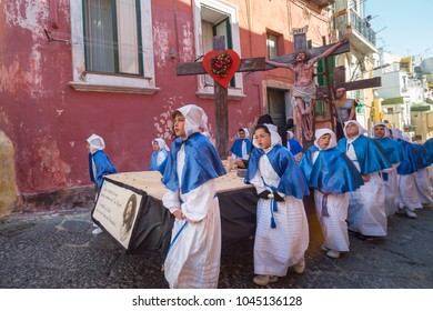 "PROCIDA, ITALY - MARCH 25, 2016 - Every year the procession of the ""Misteri"" is celebrated at Easter's Good Friday in Procida, Italy. Islanders carry through the streets elaborate and heavy ""Misteries"
