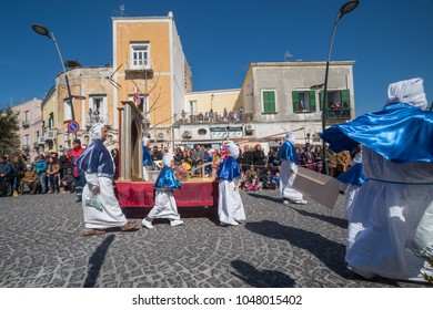 """PROCIDA, ITALY - MARCH 25, 2016 - Every year the procession of the """"Misteri"""" is celebrated at Easter's Good Friday in Procida, Italy. Islanders carry through the streets elaborate and heavy """"Misteries"""