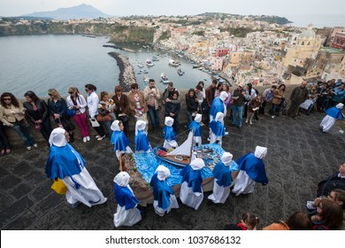 "PROCIDA, ITALY - MARCH 29, 2013 - Procida's Good Friday procession is the most famous Easter's celebration in Campania: ""misteri"" representing scenes from The Bible are carried through the streets"