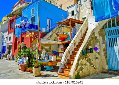 Procida, Italy - September 19, 2016 : View of the colorful houses at the Port of Corricella in Procida Island on September 19, 2016.