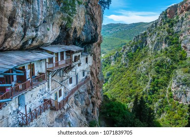 Prodromos monastery in Arcadia prefecture in Peloponnese Greece. The monastery is built in the 16th century on a huge vertical rock inside Lousios river gorge
