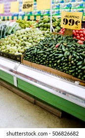 produce in a supermarket