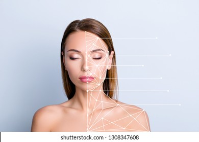 Product advertising anti-age uplift concept. Close-up portrait of nice cute attractive lady perfect shine flawless clean clear closed eyes structure points plan isolated on gray blue pastel background
