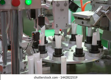 Product of automatic cosmetic tubes filling and sealing machine. Industry manufacturing process